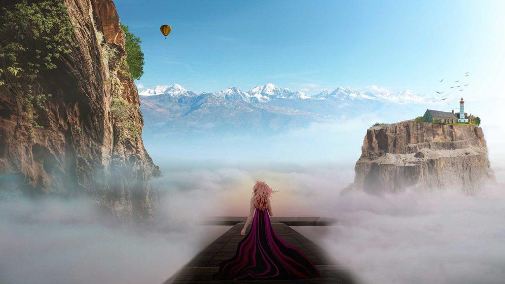 右の道を行けば灯台のある島へ、左へ行けば巨大な崖へ、真ん中の道を歩く女性