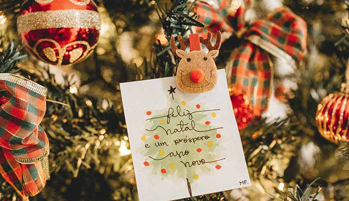 トナカイのオーナメントとカードとクリスマスツリー