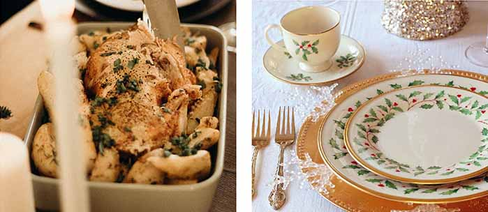 チキンとクリスマス柄のテーブルセット